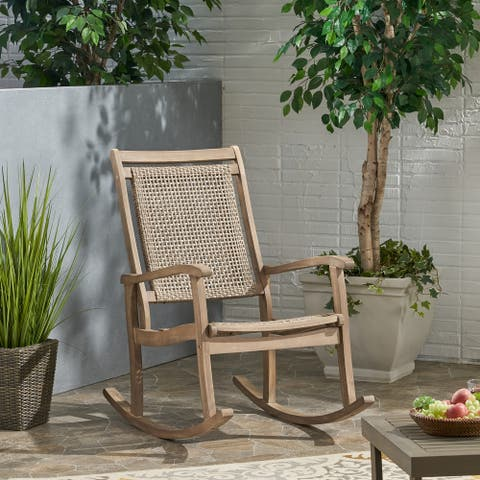 Lucas Outdoor Rustic Wicker Rocking Chair by Christopher Knight Home
