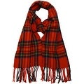 Winter Fall Cold Weather Irish Plaid Long Cashmere Feel Scarf, Christmas Red - Thumbnail 0