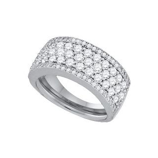 14k White Gold Womens Natural Round Diamond Wedding Anniversary Fashion Band 3.00 Cttw