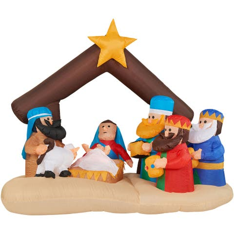 Fraser Hill Farm 6.5-Ft. Wide Nativity Scene, Blow Up Inflatable with Lights and Storage Bag