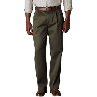 Dockers Big and Tall Signature Khaki Pleated Front Chinos Pants Olive 42 x 32