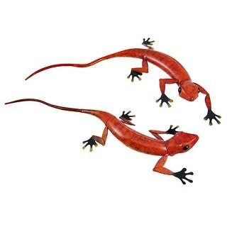 Pair Of Life-Like Red/Black Gecko Lizard Wall Hangings