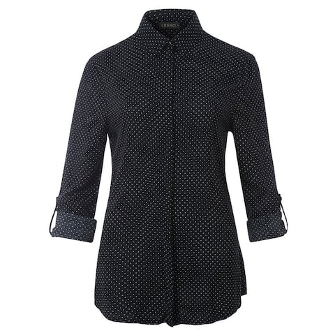 Relaxed Fit Polka Dot Hidden Button Down Long Sleeve Blouse Shirt Top