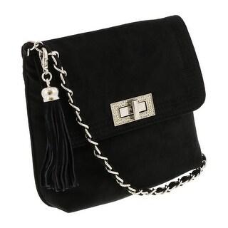 Scheilan Black Suede Tassle Clutch/Shoulder Bag