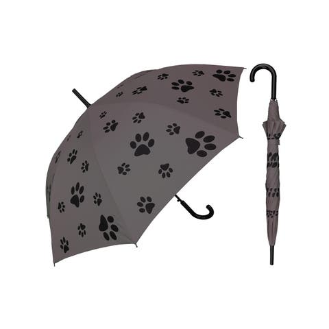 """Rainstoppers Unisex Adult Gray 48"""" Auto Open Puppy Dog Paw Print Umbrella - One Size"""