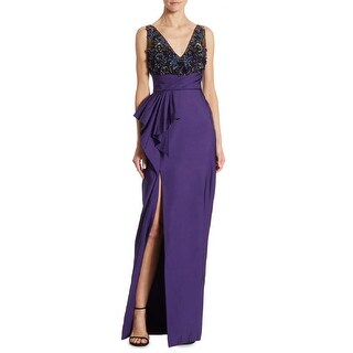 Marchesa Notte Beaded Draped Faille Evening Gown Dress Purple