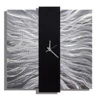 Statements2000 Black / Silver 24-inch Metal Hanging Wall Clock - Elegant Mechanism