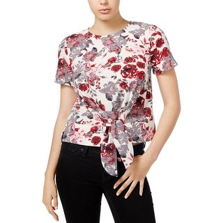 Kensie Womens Casual Top Floral Print Tie-Front (2 options available)