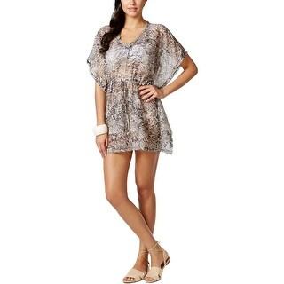 Calvin Klein Womens Chiffon Snake Print Dress Swim Cover-Up - L/XL