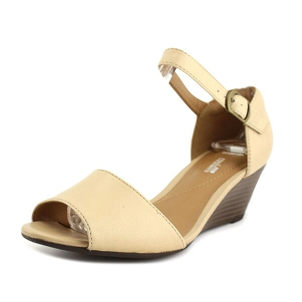 dff9e38ccb90 Clarks Narrative Brielle Drive Women Open Toe Leather Nude Wedge Sandal