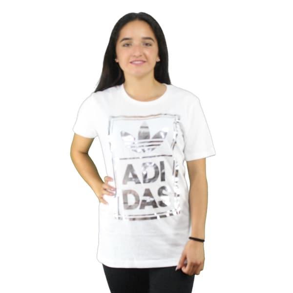 a0f892f23 Adidas Originals Trefoil Women  x27 s White T-Shirt Metallic Silver Graphic  Logo