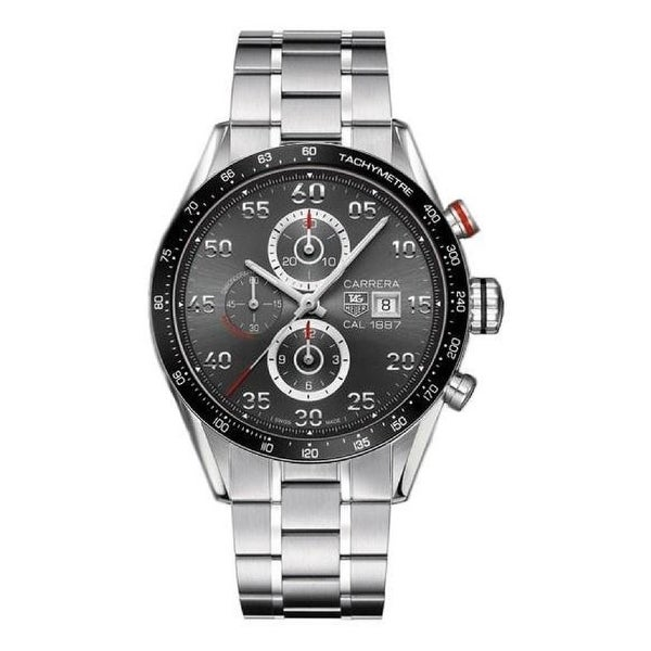 Tag Heuer Men's CAR2A11.BA0796 'Carrera 1887' Chronograph Stainless Steel Watch - Grey. Opens flyout.
