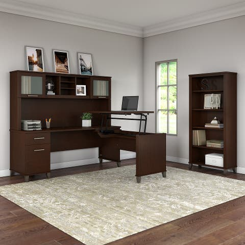 "Copper Grove Shumen 72""W Sit to Stand L-Desk with Hutch and Bookcase"