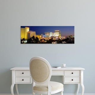 Easy Art Prints Panoramic Images's 'Buildings lit up at dusk, Las Vegas, Nevada, USA' Premium Canvas Art