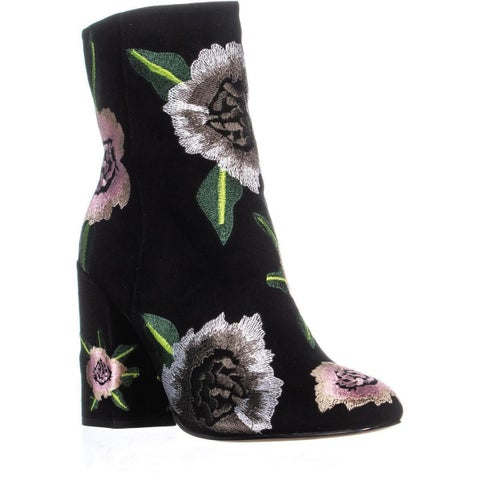 Rebecca Minkoff Bryce Embroidered Booties, Black/Floral