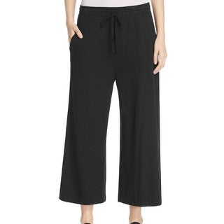Eileen Fisher NEW Black Womens Size Medium M Wide Leg Drawstring Pants