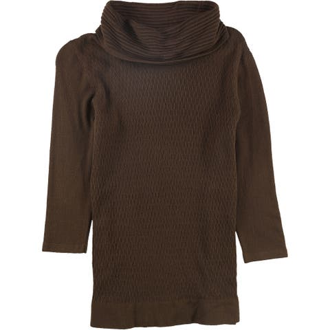 Nouveaux Womens Textured Pullover Sweater, Brown, X-Large