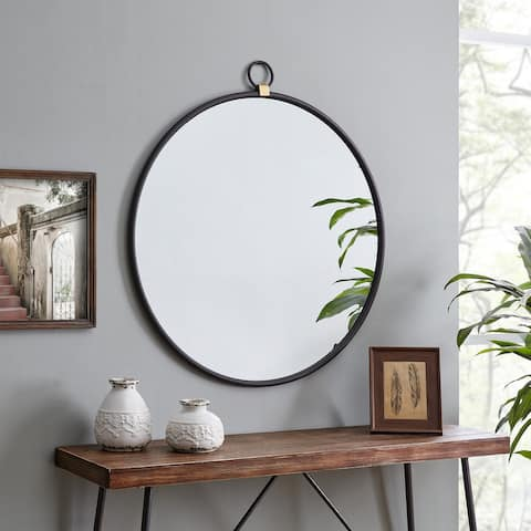 FirsTime & Co.® Marshall Black Round Mirror, American Crafted, Satin Black, Mirror, 32.5 x 1 x 36 in - 32.5 x 1 x 36 in