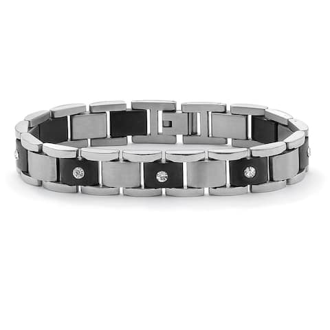 Men's Stainless Steel Crystal Link Bracelet (13mm) 8.25 inches