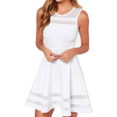 48b2896daa8cb Women Summer Dress O-neck Sleeveless Flare Short Party Dress