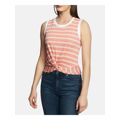 1. STATE Womens Coral Tie Striped Sleeveless Jewel Neck Top Size XL