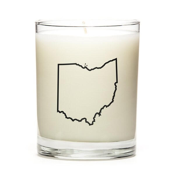 Custom Candles with the Map Outline Ohio, Fresh Linen