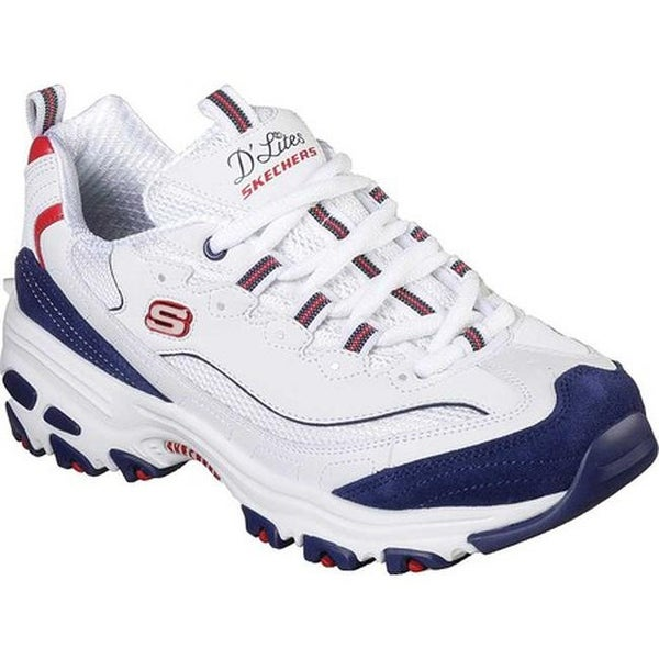 65462cdd1ada Shop Skechers Women s D Lites March Forward Sneaker White Navy Red ...