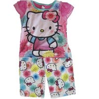 Hello Kitty Girls Fuchsia Kitty Floral Print 2 Pc Pajama Set 8-10