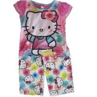Hello Kitty Little Girls Fuchsia Kitty Floral Print 2 Pc Pajama Set 4-6