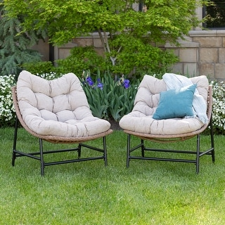 Outdoor Rattan Papasan Chairs with Cushions, set of 2