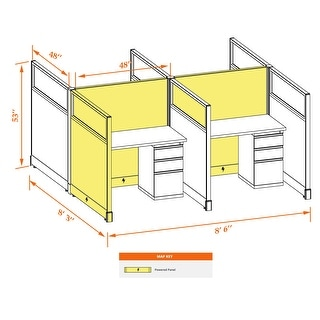 Cubicle Workstations 53H 4pack Cluster Powered (4x4 - Espresso Desk Silver Paint - Assembled)