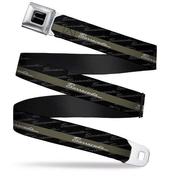 Barracuda Script Logo Full Color Black White Barracuda Script Stripe Seatbelt Belt