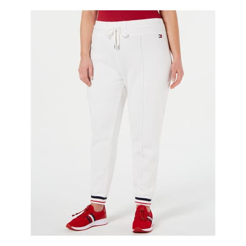 TOMMY HILFIGER Womens White Tie Solid Lounge Pants Size 2X