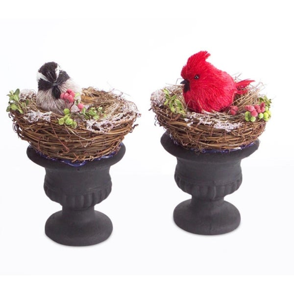 """Set of 2 Red and Gray Country Rustic Potted Nests with Christmas Birds in Urns 8.5"""""""