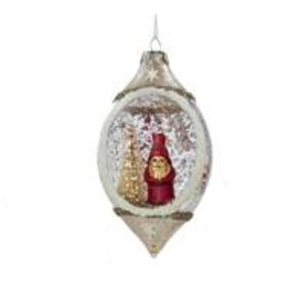 "5"" Glass Finial with Santa Decorative Christmas Ornament"