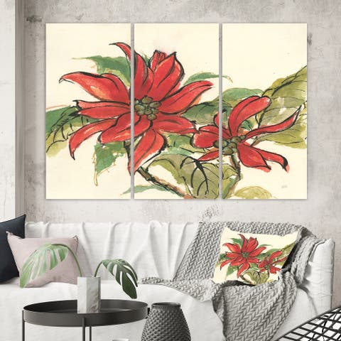 Designart 'Poinsettia II' Farmhouse Canvas Artwork