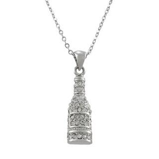 Rhinestone Champagne Bottle Necklace - Silver