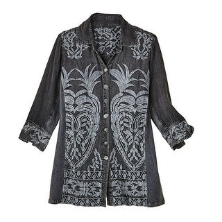 Women's Button Front Shirt - Smokey Pewter Floral Embroidered Blouse