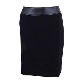 Tahari ASL Women's Petite Studded Faux-Leather Pencil Skirt - Black