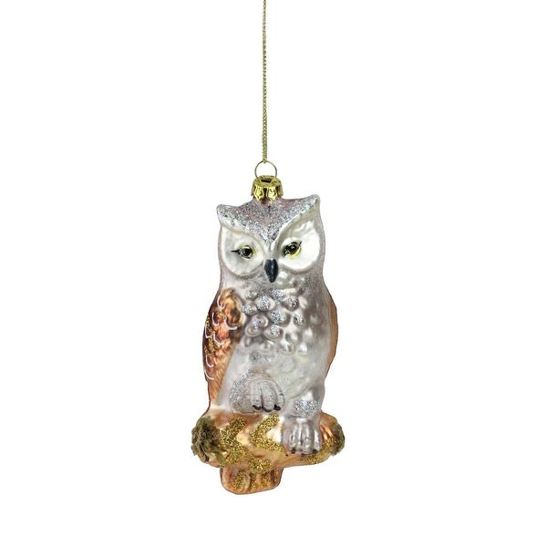 "5"" Glittery Gold and Silver Glass Perched Owl on a Branch Christmas Ornament"