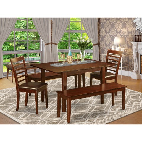 East West Furniture Modern 5-piece Small Dinette Table and 2 Dining Chairs and 2 Dining Benches (Pieces Option)