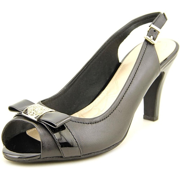 Giani Bernini Carlynn Peep-Toe Leather Slingback Heel