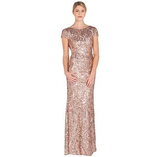Badgley Mischka Sequin Cowl Back Evening Gown Dress
