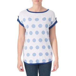 Joseph A Womens Hi-Low Polka Dot Pullover Sweater - L