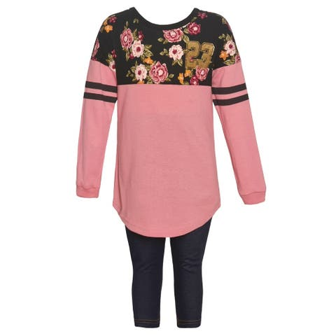 Little Girls Dark Pink Floral Panel Long Sleeved 2 Pc Pant Outfit