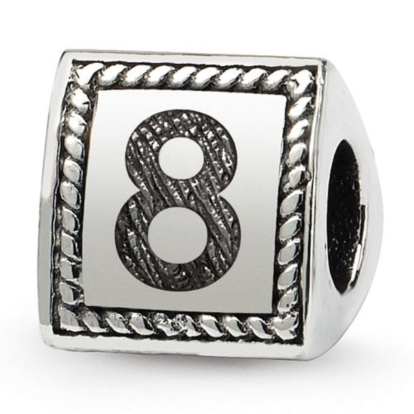 Sterling Silver Reflections Number 8 Triangle Block Bead (4mm Diameter Hole)