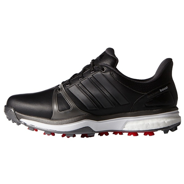 Adidas Men's Adipower Boost 2 Core Black/Dark Silver Metallics/Red Golf Shoes Q44660 / Q44664