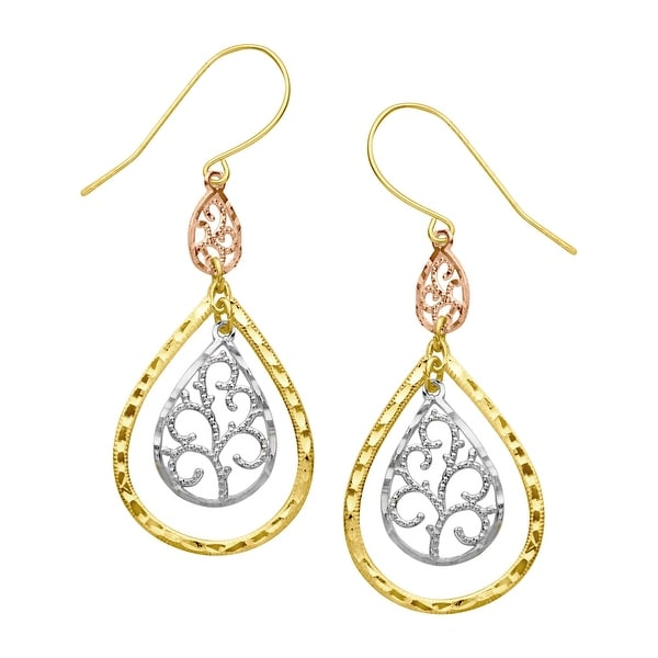 a085516e7 Shop Just Gold Filigree Teardrop Earrings in 10K Three-Tone Gold - Free  Shipping Today - Overstock - 14124071