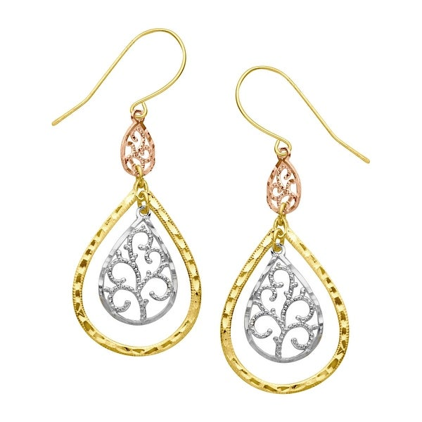 Just Gold Filigree Teardrop Earrings in 10K Three-Tone Gold