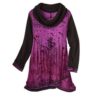 Women's Cowl Neck Tunic Top - Moonlit Purple & Black Long Sleeve (Option: 1x)|https://ak1.ostkcdn.com/images/products/is/images/direct/aa93cd40b9f64d13c0331fccf7e46ac2976b0064/Women%27s-Cowl-Neck-Tunic-Top---Moonlit-Purple-%26-Black-Long-Sleeve.jpg?impolicy=medium